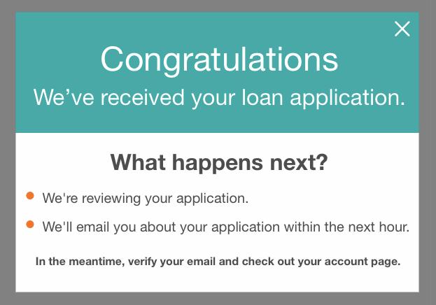 Prosper Loans Application Confirmation